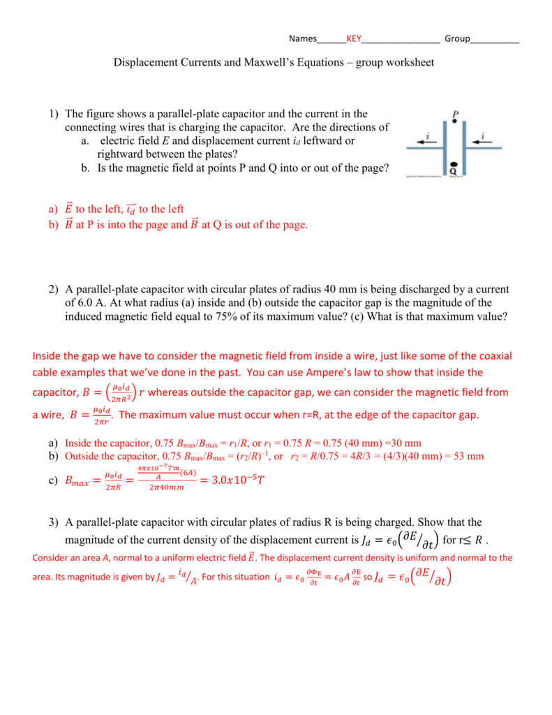 Displacement Currents And Maxwells Equations Wiring Capacitors In Parallel