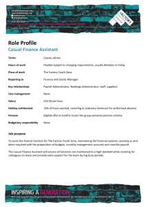 Role Profile Casual Finance Assistant