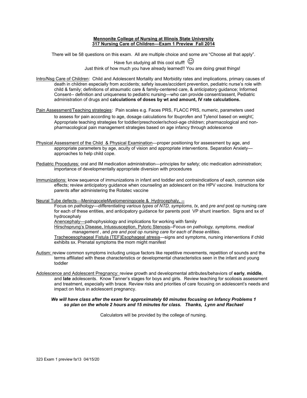 Parent Child Nursing-- Unit 3 Test Preview