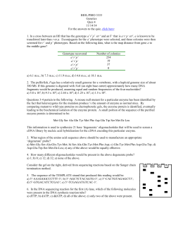 BIOL/PBIO 3333 Genetics Quiz 4 11/14/14 For the answers to the
