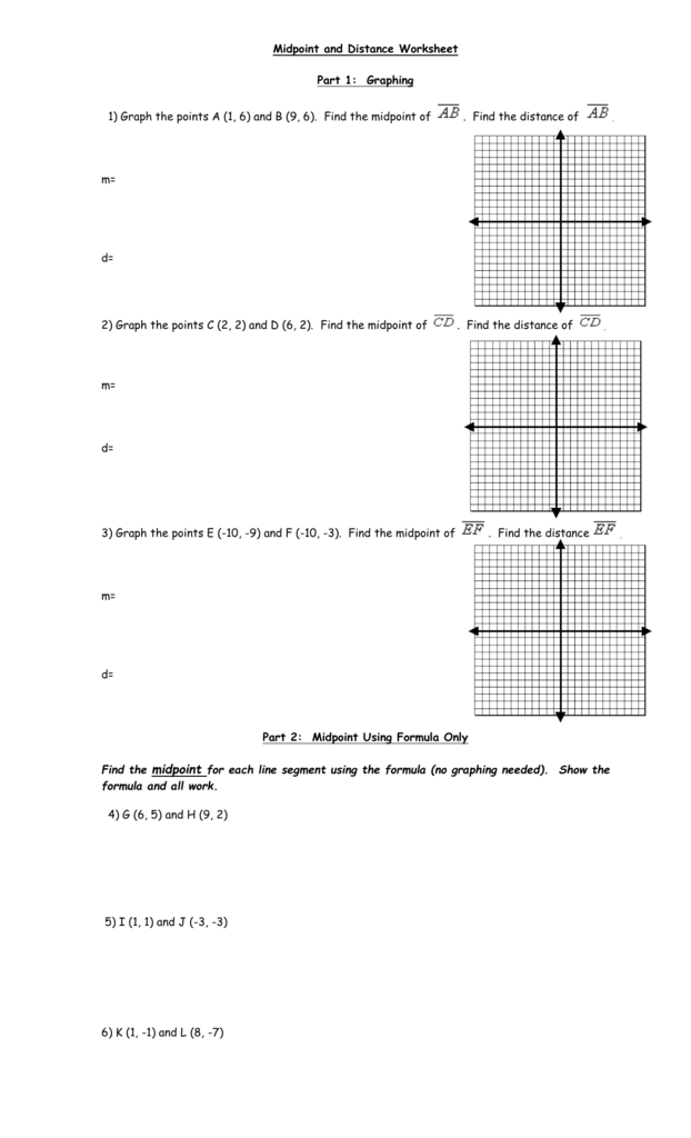 Midpoint and Distance Worksheet