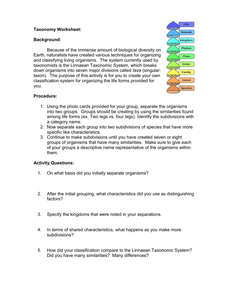 Taxonomy Activity Worksheet