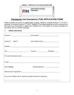 Therapeutic Use Exemptions (TUE) APPLICATION FORM