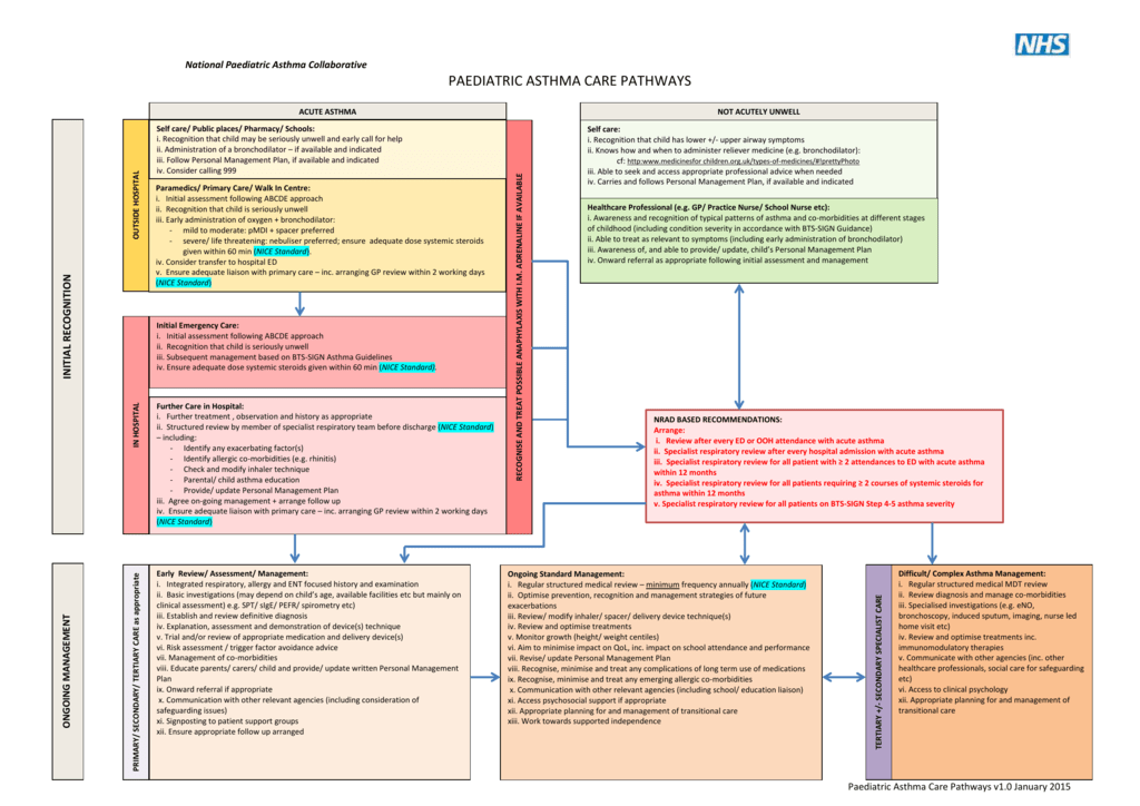 Paediatric asthma clinical pathways