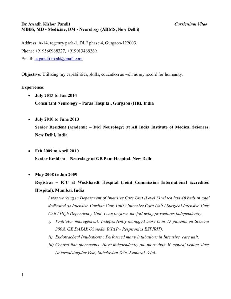 Dr Awadh Kishor Pandit Curriculum Vitae Mbbs Md