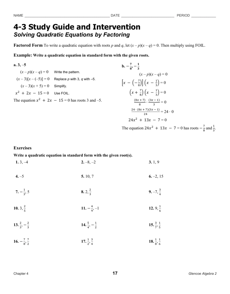 Worksheets Solving Quadratic Equations By Factoring Worksheet Answers solving quadratic equations by factoring