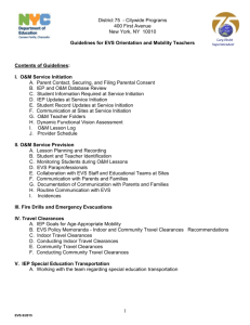 Orientation & Mobility Guidelines for EVS O&M Teachers - 2015