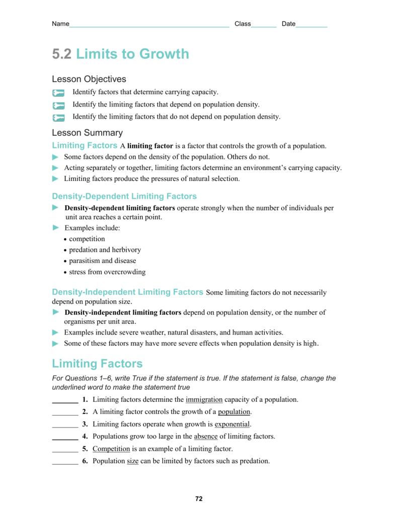 Worksheets Limiting Factors Worksheet 5 2 worksheet hazelwood school district