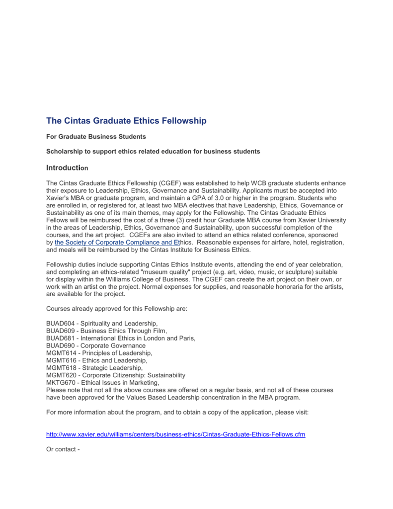 The Cintas Graduate Ethics Fellowship For Graduate Business