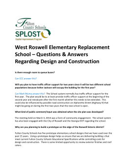 West Roswell Elementary Replacement School – Questions
