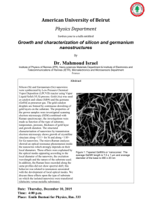 Growth and characterization of silicon and germanium nanostructures