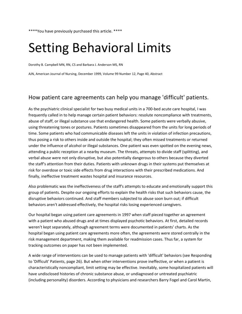 effective limit setting