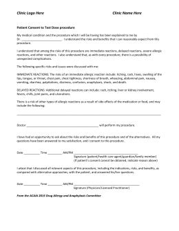 Consent form for oral test dosing and challenge