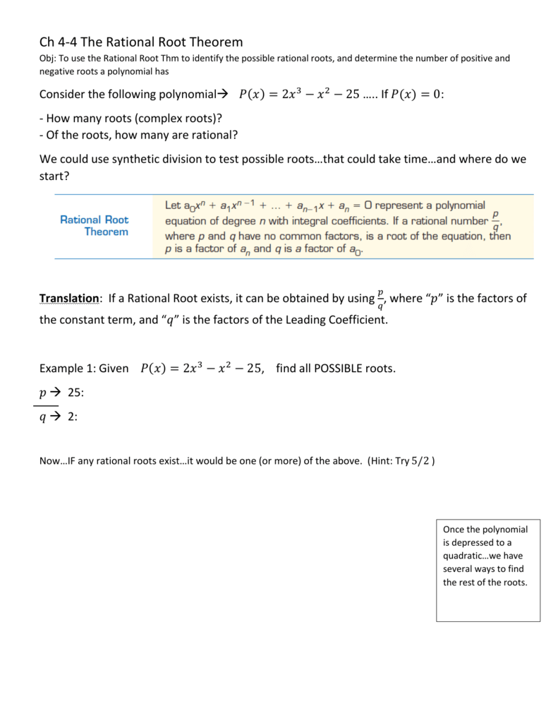 Ch 4 4 The Rational Root Theorem