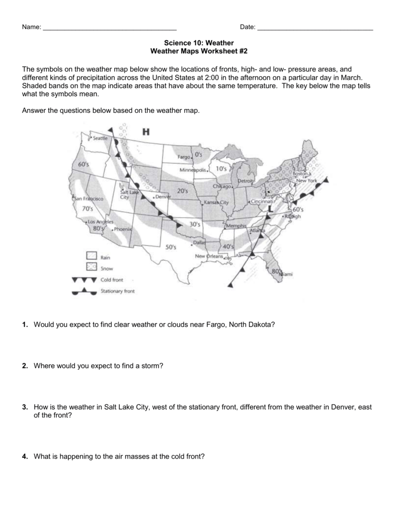 worksheet Reading A Weather Map Worksheet 29 weather map worksheet 2 2