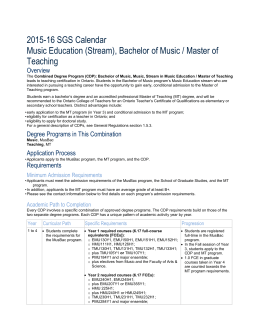 2015-16 SGS Calendar Music Education (Stream), Bachelor of