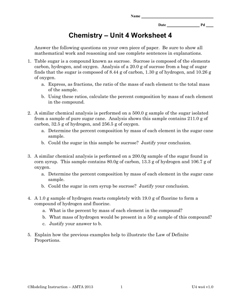 template – Chemistry Percent Composition Worksheet