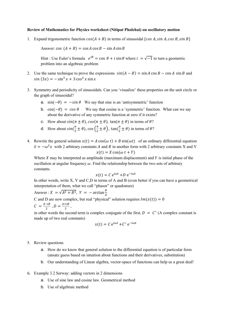 Review of Mathematics for Physics worksheet (Nitipat Pholchai) on