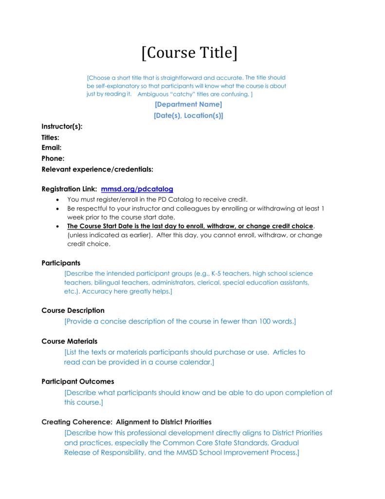 Syllabus Template - Professional Learning & Leadership