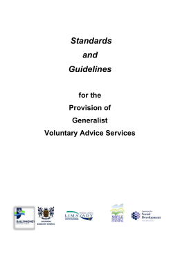 Standards and Guidelines for the Provision of Generalist Voluntary