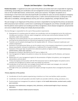 Sample Job Description -- Care Manager Position Description: A