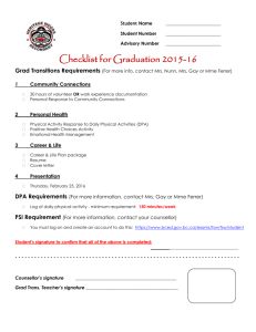 Checklist for Graduation Transitions