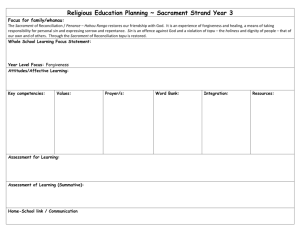 Religious Education Planning ~ Sacrament Strand Year 3