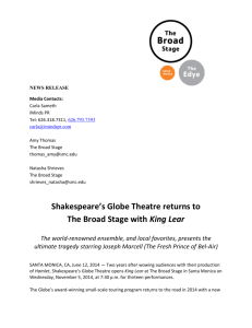 Shakespeare`s Globe Theatre returns to The Broad Stage with King