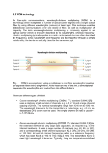 6.2 WDM technology In fiber-optic communications, wavelength
