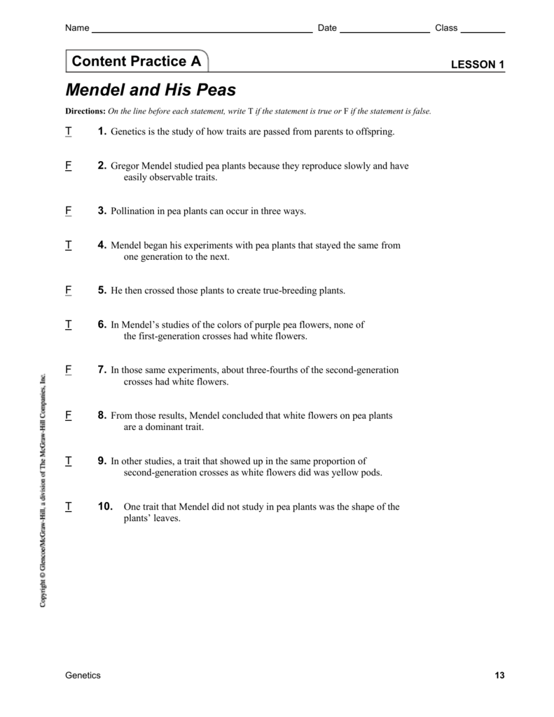 Content Practice A & B Mendel with answers