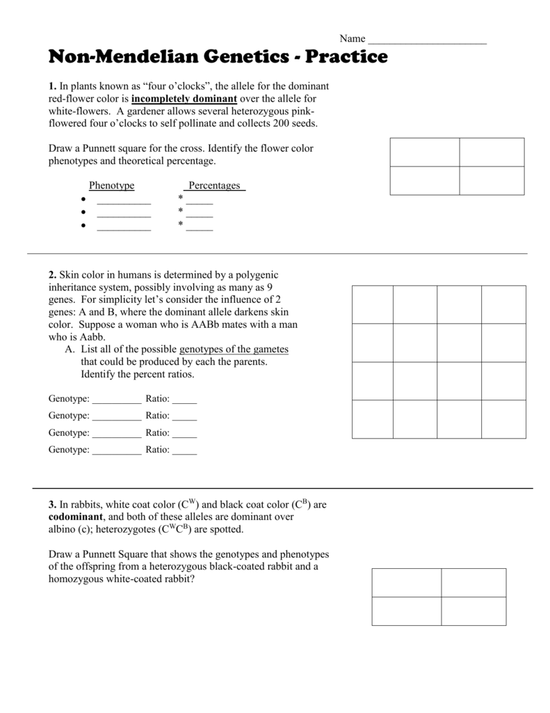 Worksheets Non Mendelian Genetics Worksheet non mendelian inheritance