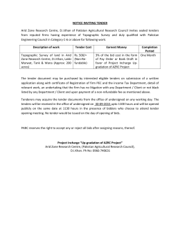 NOTICE INVITING TENDER Arid Zone Research Centre, D.I.Khan of
