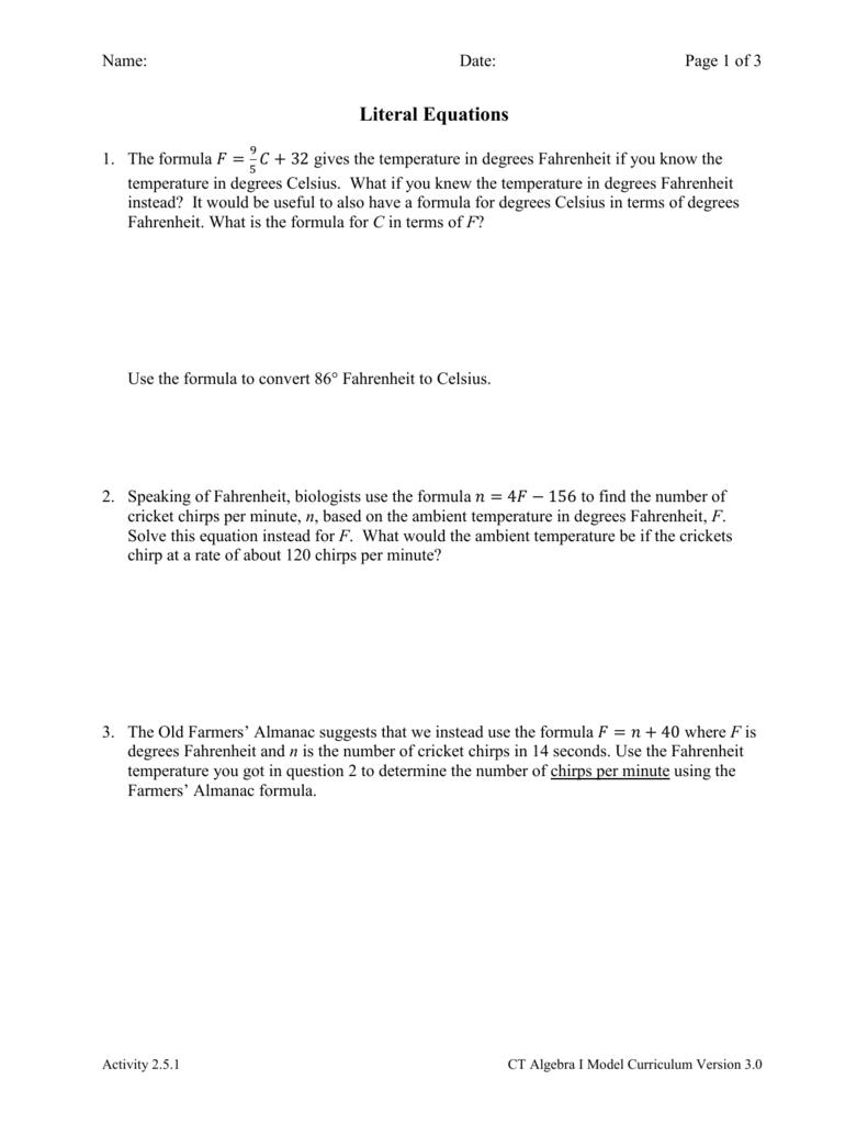 worksheet Literal Equation Worksheet activity 2 5 1 literal equations