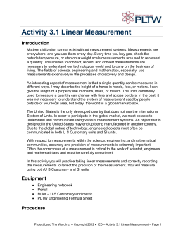 Activity 3.1 Linear Measurement Introduction