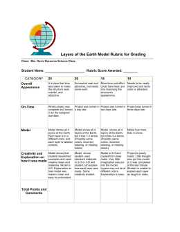 Layers of the Earth Model Rubric for Grading