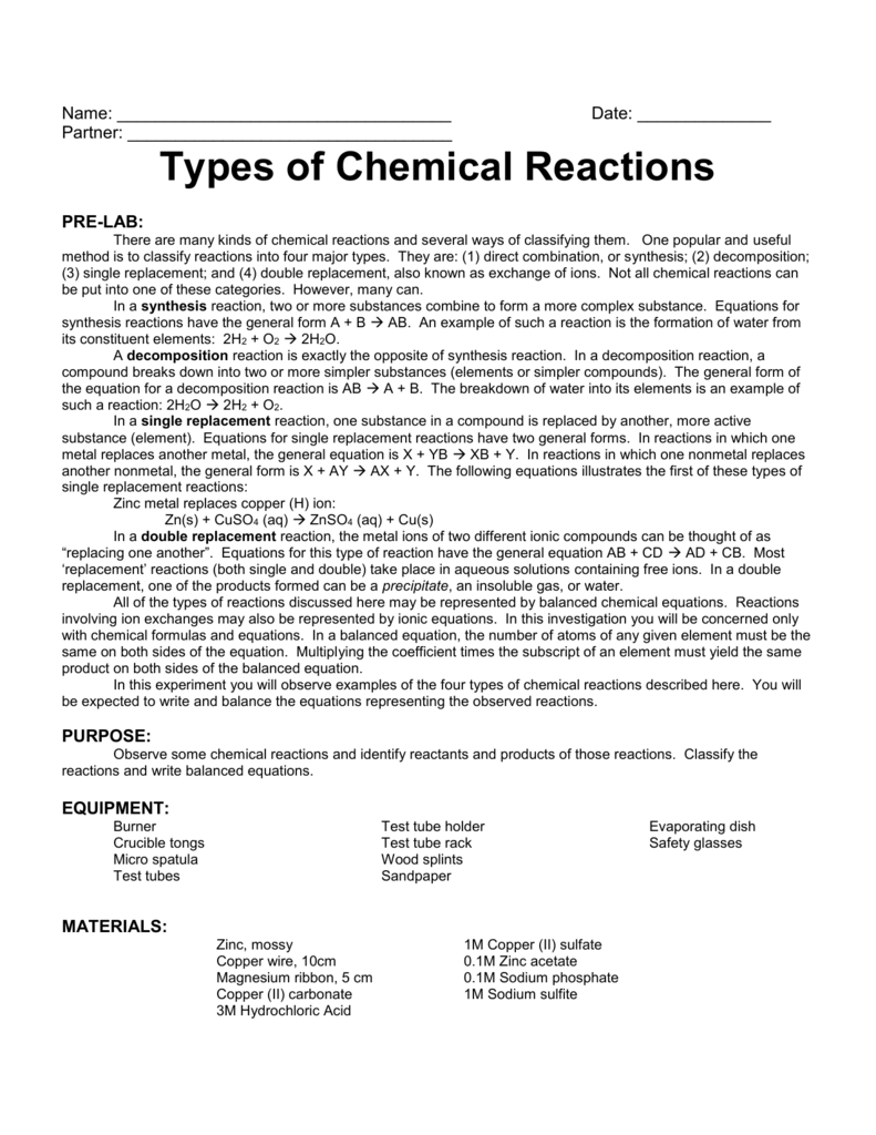 Types Of Chemical Reactions Lab