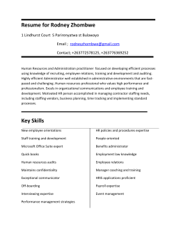 Resume for Rodney Zhombwe