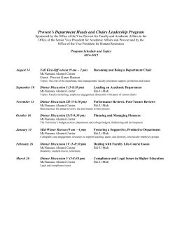 Provost*s Department Leadership Program