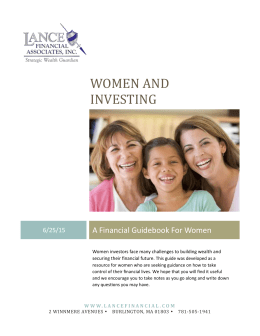 Women and Investing - Lance Financial Associates Inc.