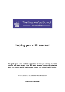 Literacy - Helping your child succeed