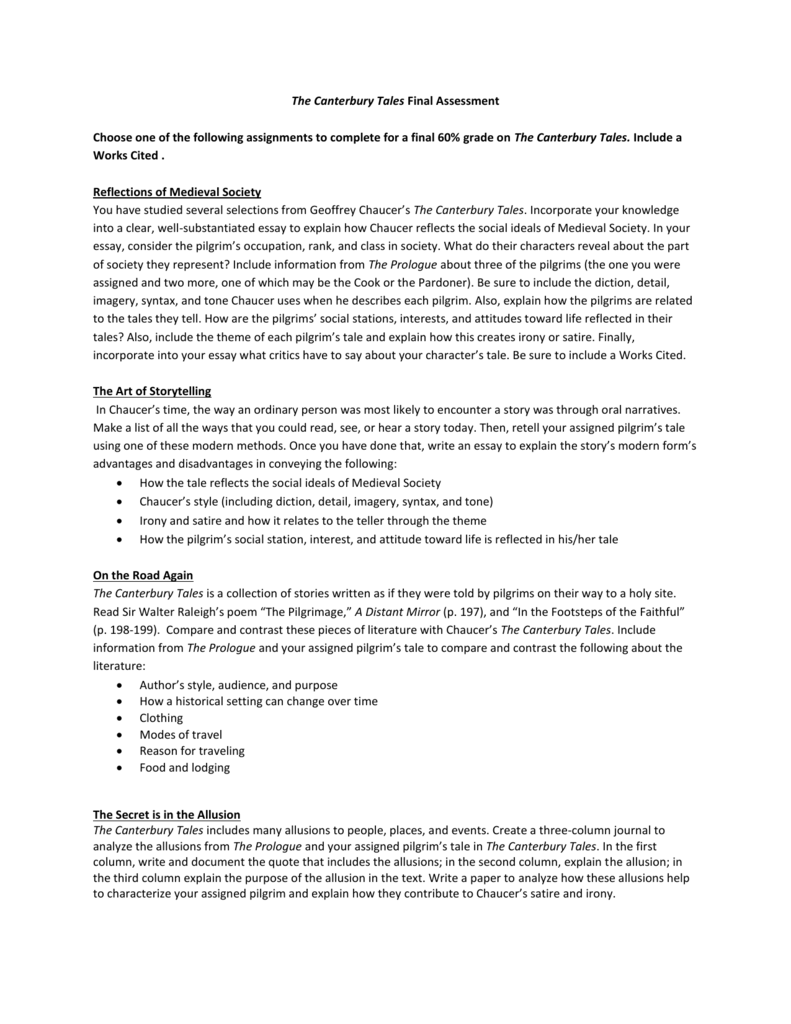 The Canterbury Tales Final Assessment Choose One Of The  English Essay Question Examples also Essay On Pollution In English  Essay On Business Ethics