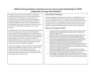 SQUEAC-Semi quantitative evaluation of access and coverage