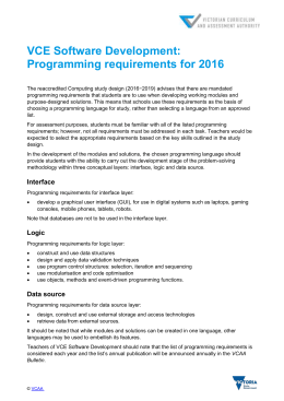 VCE Software Development: Programming requirements for 2016
