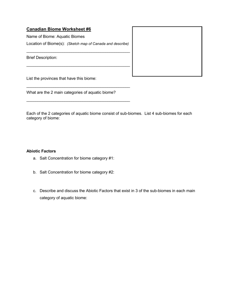 Worksheets Biome Worksheet canadian biome worksheet 6 aquatic biomes