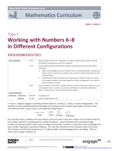 Kindergarten Mathematics Module 1, Topic E