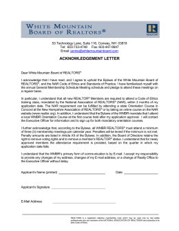 Acknowledgement Letter - White Mountain Board of REALTORS