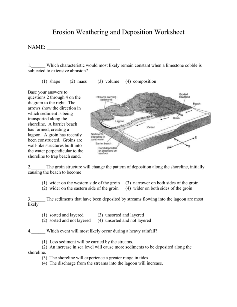 Review Worksheet On Erosion Weathering And Deposition