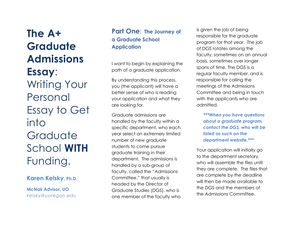 The A Graduate School Essay