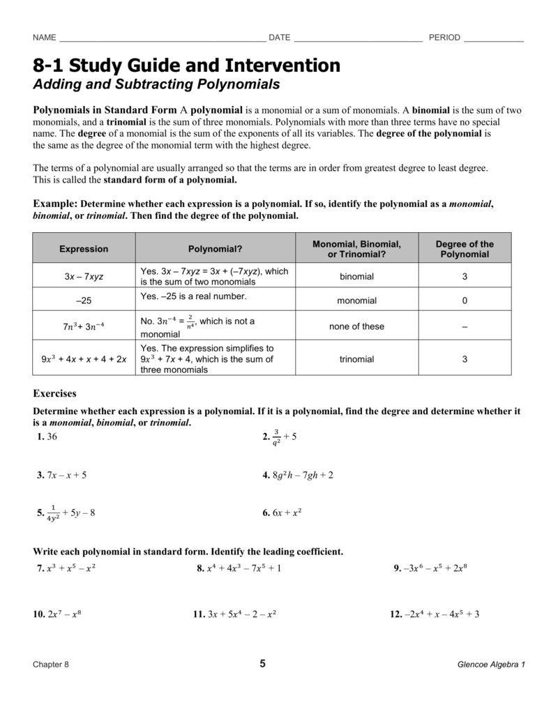 section 8 1 study guide rh studylib net 8-2 study guide and intervention adding and subtracting polynomials answers 8-5 study guide and intervention adding and subtracting polynomials answer key