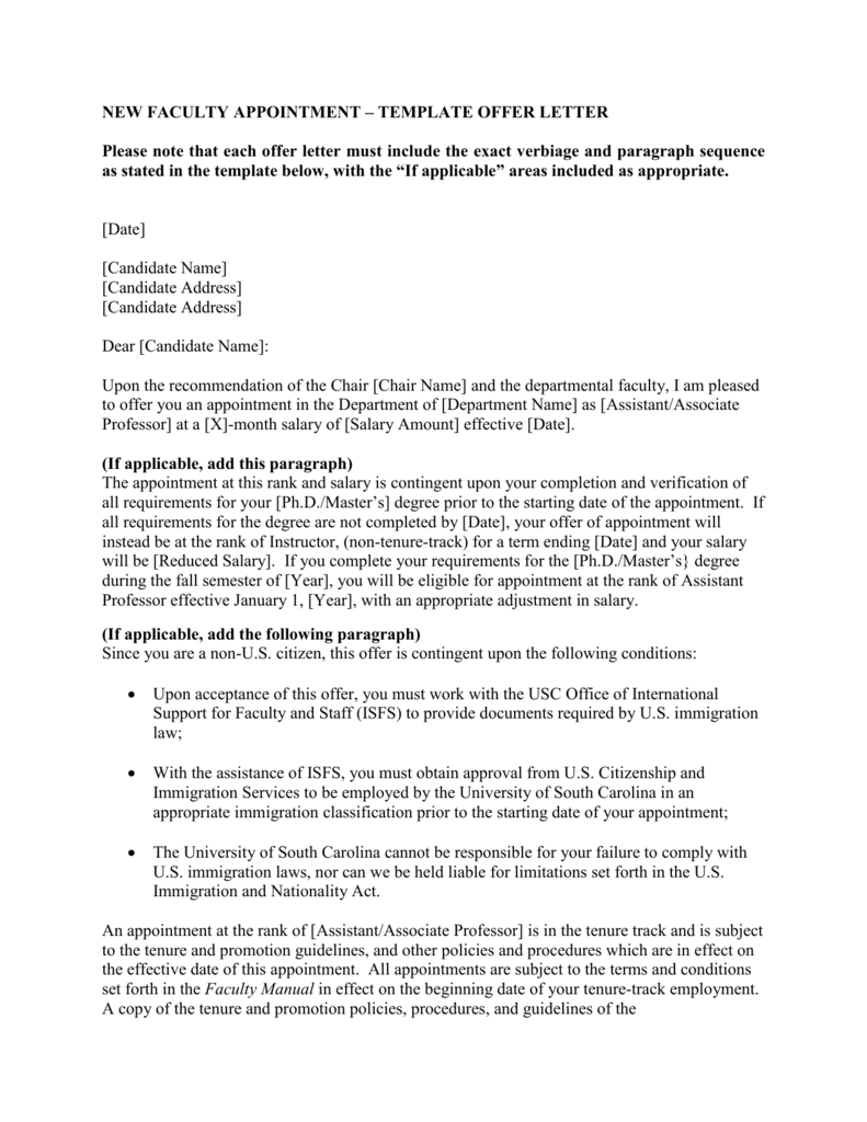 new faculty appointment template offer letter